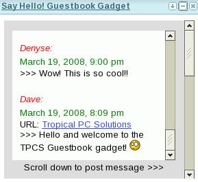 guestbook widget gadget
